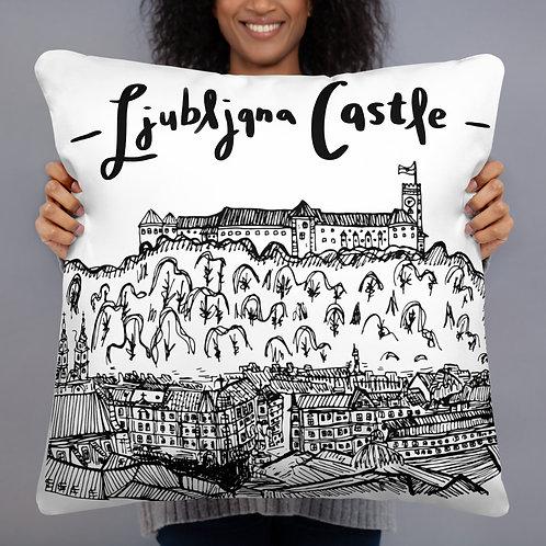 "Ljubljana Castle Pillow - 22"" X 22"" - Slovenia Cushion - Wedding Gift"