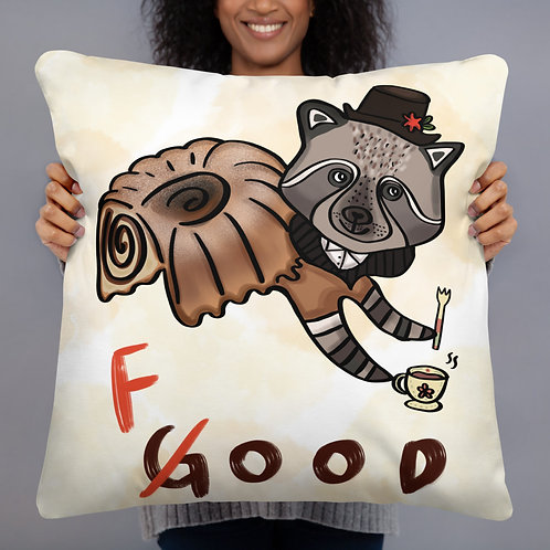 Raccoon Potica Cake How Are You? Good! - Pillow 22''x22'' - Cute Gift