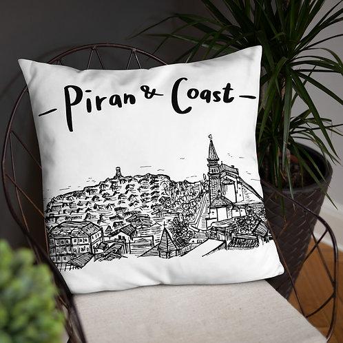 Piran Coast - Pillow 22''x22'' - Slovenia Cushion - Gift idea