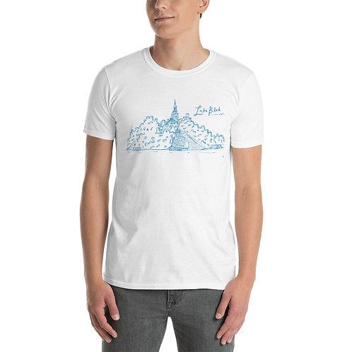 Lake Bled Hand Sketch Slovenia Tee - Short-Sleeve Unisex T-Shirt (Blue)