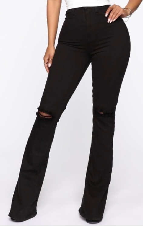 High Waist Ripped Knee Flare