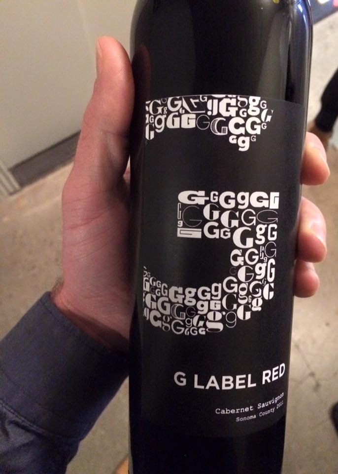 G Label wine bottle