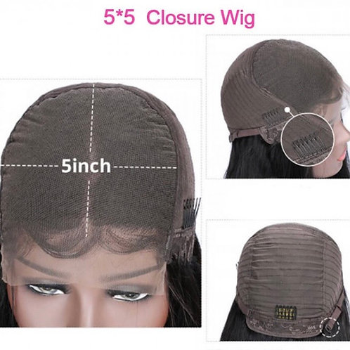 Glueless 5 by 5 Lace Closure Wig (Straight)
