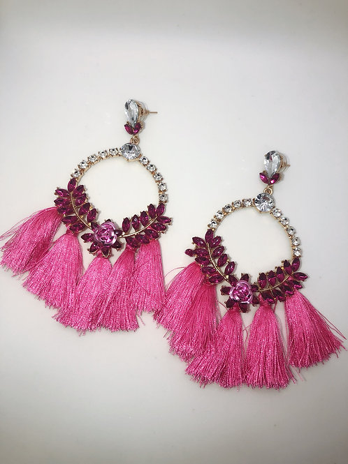 Pink Diamond Tassles Earrings