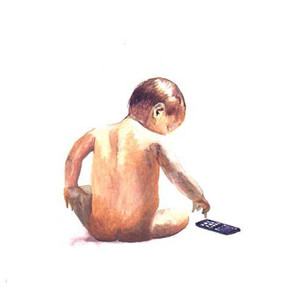 Baby in a watercolour style.
