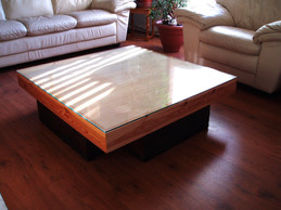 Wooden table from reclaimed wood.