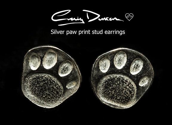 Paw Print Silver Stud earrings