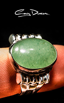 HEAVY SIILVER AND GREEN AGATE RING