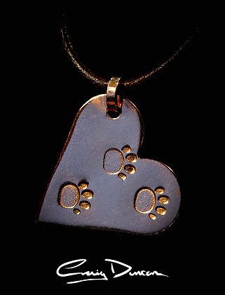 COPPER HEART LOVE CAT PENDANT WITH LEATHER CORD