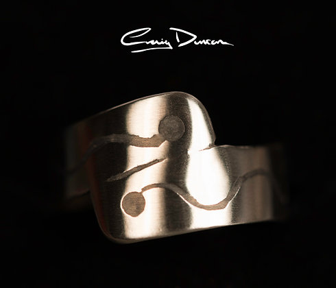SILVER AND BLACK INLAY RING