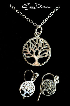 STERLING SILVER TREE OF LIFE PENDANT WITH EARRINGS