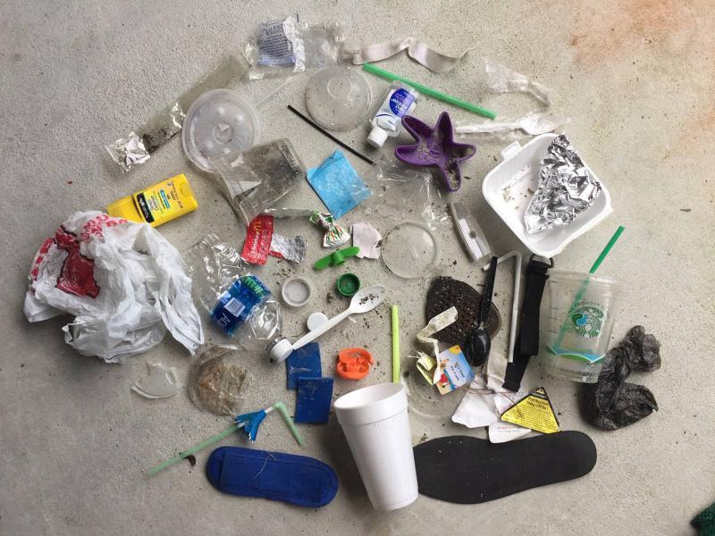 single use plastic beach