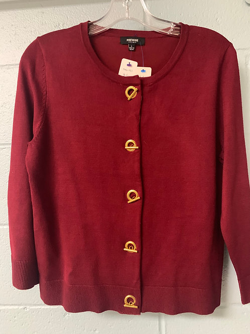 Maroon Premise Sweatshirt with Gold Buttons (l)
