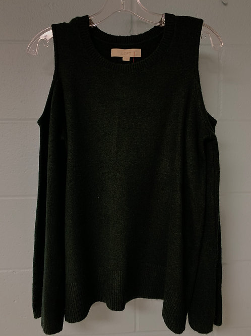 Dark Green LOFT Sweater with Cutout Shoulders (s)