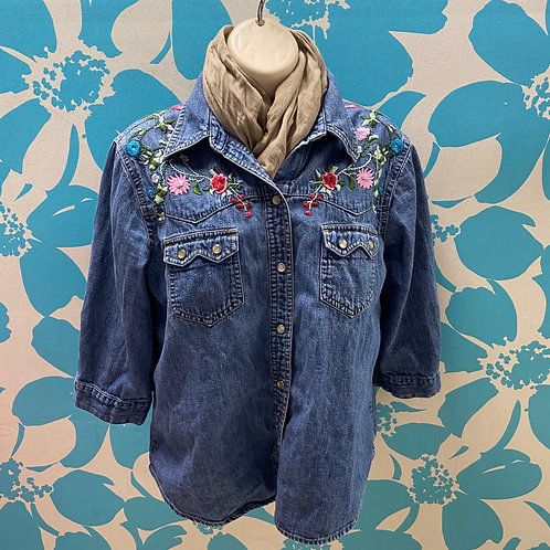 Old Navy Embroidered with a Snap Denim Shirt (L)