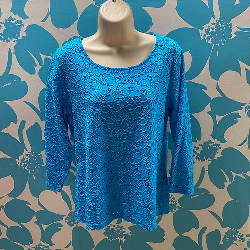 Chico's Lovely Blue Lace Overlay Shirt