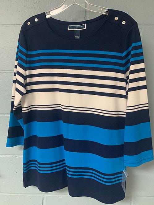 Blue and White Striped Karen Scott Shirt (L)