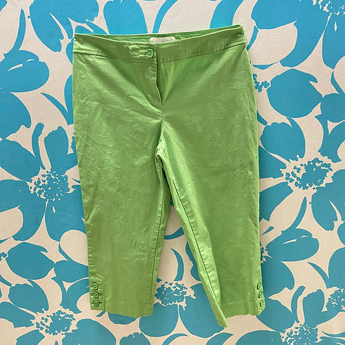 Talbots Green Capris with Cute Button Ankle Trim (10p)