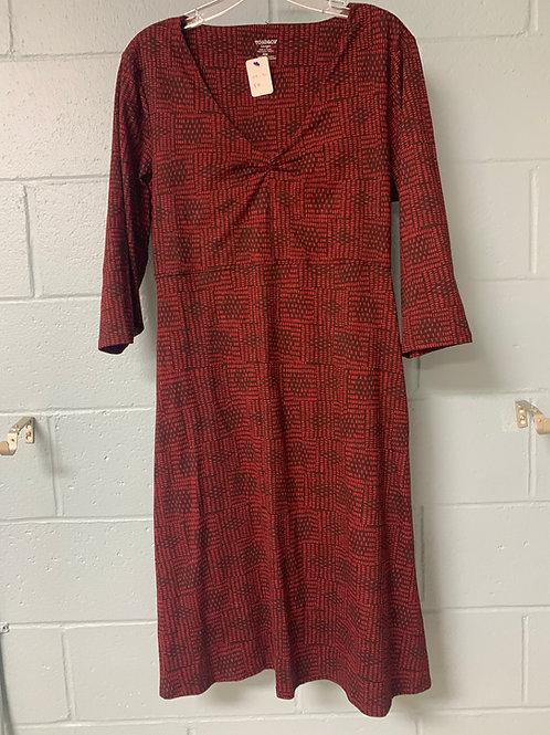 Red Patterned Toad&Co Vneck Dress (l)