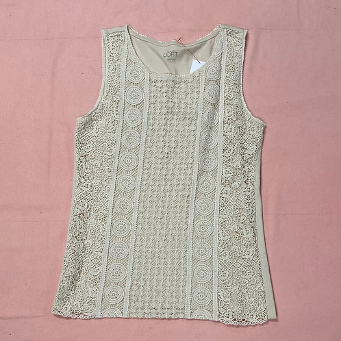 Beautiful Warm Ivory Loft Lace Tank Top (S)