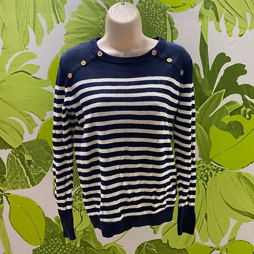 J. Crew Navy and White Striped Sweater Classic (S)