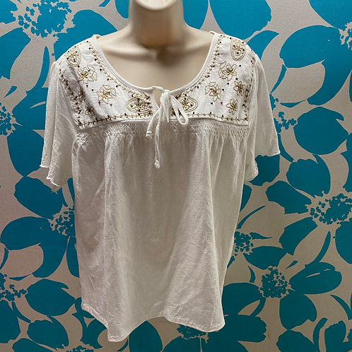 Embroidered Peasant Cotton Blouse (XXL)