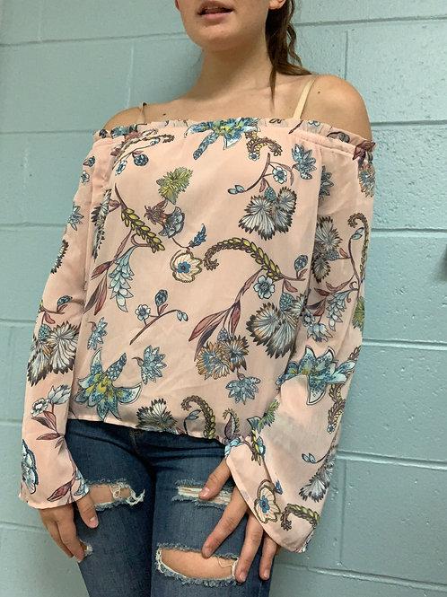 Love Life Floral Pink Off Shoulder Blouse (M)