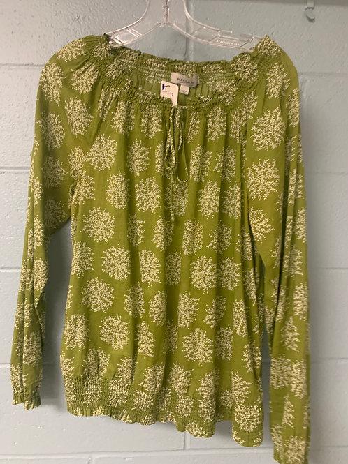 Floral Light Green Merona Blouse (L)
