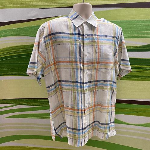 Cuberavera 100% Linen Plaid Button-up Dress Shirt (L)