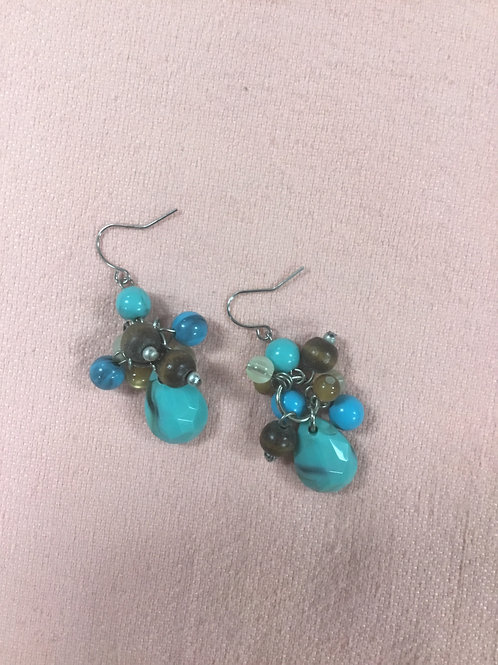 Turquoise and Amber Color Beaded Earrings