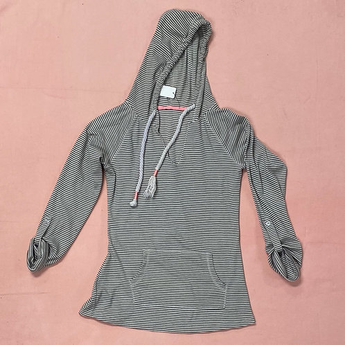 Waffle Knit Hooded Pullover with Front Pocket