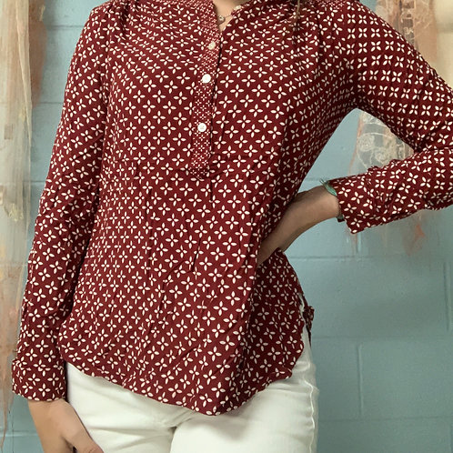 Maroon Patterned Ann Taylor Blouse (xsp)