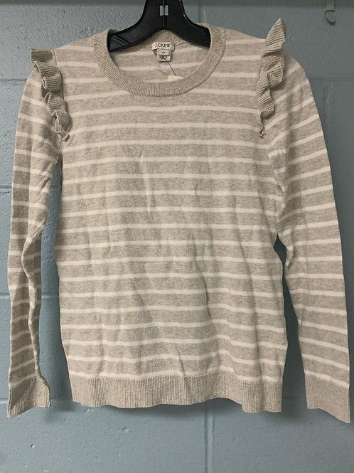 Grey and White Striped J. Crew Sweater (xs)