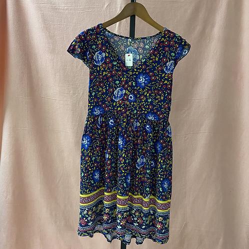 Blue Floral Print Dress (M)