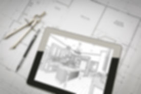 Computer Tablet Showing Kitchen Illustration Sitting On House Plans With Pencil and Compass..jpg