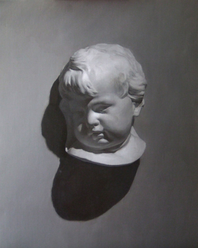 Gresaille painting of a cherub cast