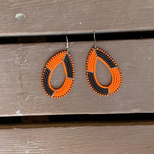 Teardrop Beaded Earrings: Orange and Black