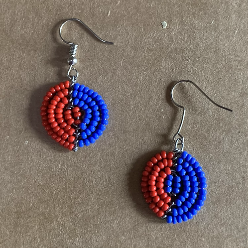 Small Red and Blue Beaded Earrings