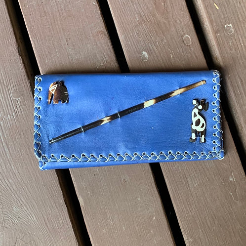 Large Leather Wallet - Blue