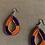 Thumbnail: Large Teardrop Orange and Navy Beaded Earrings