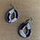Thumbnail: Tear Drop Navy and White Beaded Earrings