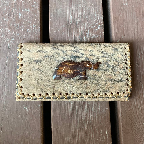 Small Leather Wallet with Elephant Carving