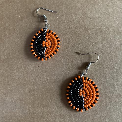 Small Orange and Black Beaded Earrings