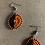 Thumbnail: Small Orange and Black Beaded Earrings