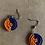 Thumbnail: Small Navy and Orange Beaded Earrings
