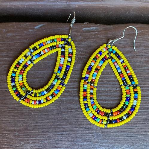 Teardrop Beaded Earrings Yellow #1