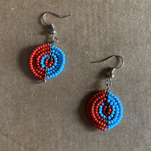 Small Red and Light Blue Beaded Earrings