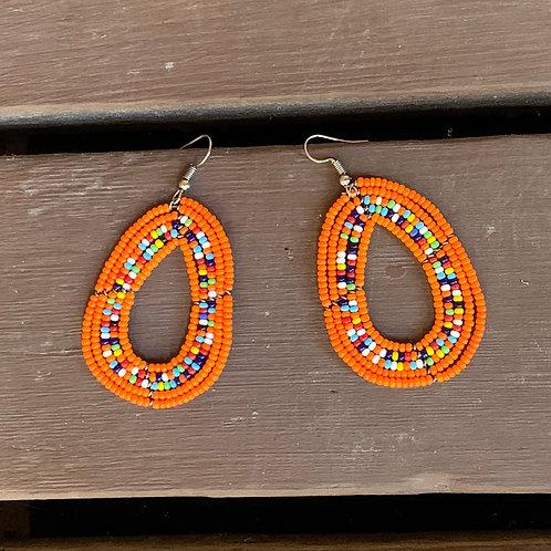 Teardrop Beaded Earrings: Orange and Multi