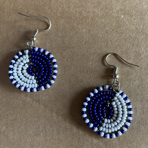 Small Navy and White Beaded Earrings