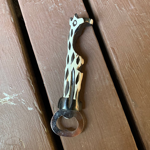 Handcarved Bone Bottle Opener: Giraffe
